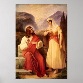 Cristo y el samaritano de Schleisner cristiano Póster