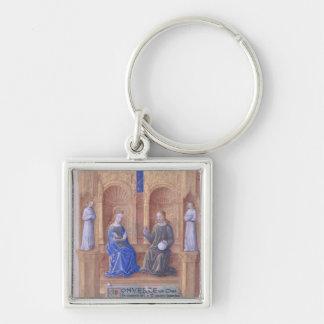 Cristo y el Virgen María Enthroned Llavero Cuadrado Plateado