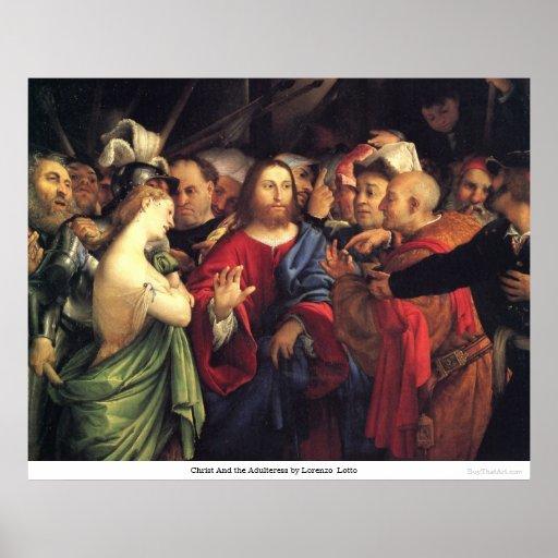 Cristo y la adúltera de Lorenzo Lotto Posters
