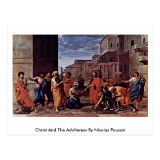 Cristo y la adúltera de Nicolás Poussin Tarjeta Postal