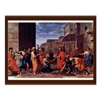 Cristo y la adúltera de Poussin Nicolás Tarjeta Postal