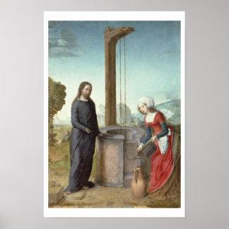 Cristo y la mujer de Samaria, c.1500 (aceite en el Póster