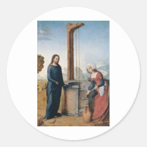Cristo y la mujer de Samaria C. 1500 Etiqueta