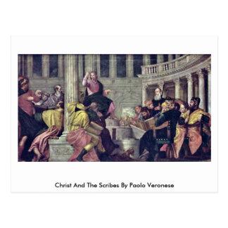 Cristo y los escribanos de Paolo Veronese Tarjeta Postal