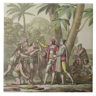 Cristóbal Colón (1451-1506) con Ameri nativo Azulejo Cuadrado Grande