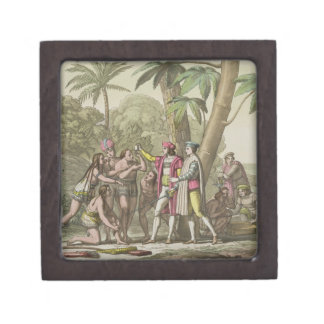 Cristóbal Colón (1451-1506) con Ameri nativo Caja De Regalo De Calidad