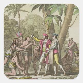 Cristóbal Colón (1451-1506) con Ameri nativo