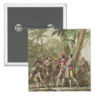 Cristóbal Colón (1451-1506) con Ameri nativo Pin Cuadrada 5 Cm