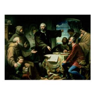 Cristóbal Colón en el monasterio del la Tarjeta Postal