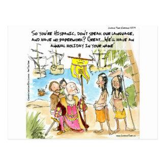 Cristóbal Colón inmigra a América divertida Postal
