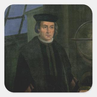 Cristóbal Colón Calcomanía Cuadrada Personalizada