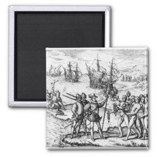 Cristóbal Colón que recibe los regalos Imán Cuadrado