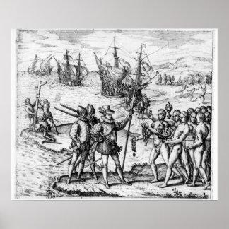 Cristóbal Colón que recibe los regalos Poster