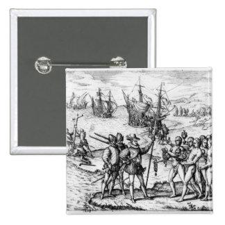 Cristóbal Colón que recibe los regalos Pin Cuadrada 5 Cm