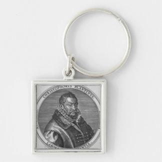 Cristóbal Plantin Llavero Cuadrado Plateado