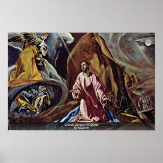 Cristus Garden Of Olives By Greco El Poster