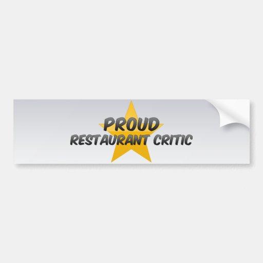 Crítico orgulloso del restaurante pegatina para auto