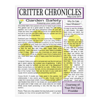Critter Chronicles Newsletter - May/June 2011 Flyer