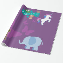 Critters and Butterflies Baby Shower Wrapping Paper
