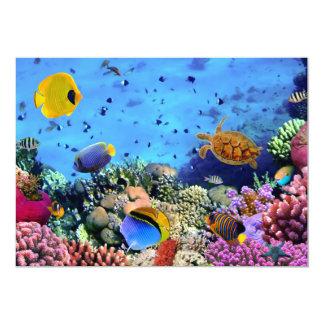 """Critters coloridos del arrecife de coral invitación 5"""" x 7"""""""