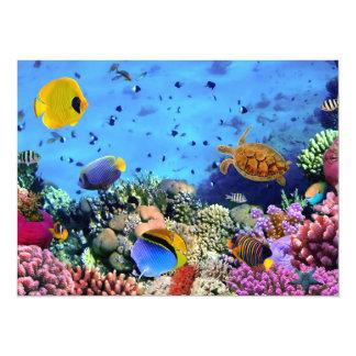"""Critters coloridos del arrecife de coral invitación 5.5"""" x 7.5"""""""