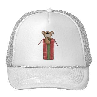 Critters del navidad · Oso y caja de peluche Gorro