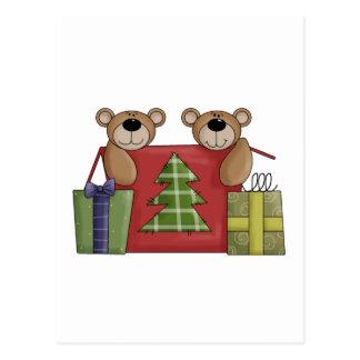 Critters del navidad · Osos y regalos de peluche Tarjeta Postal