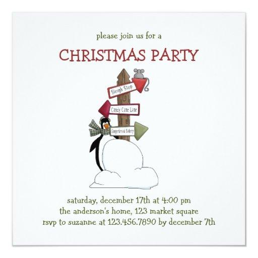 Critters del navidad · Pingüino y poste indicador Invitación 13,3 Cm X 13,3cm