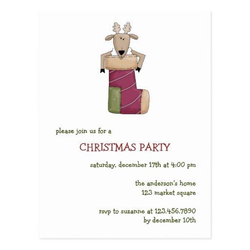 Critters del navidad · Reno y media Tarjeta Postal