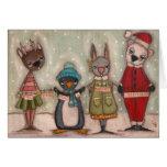 Critters del navidad - tarjeta de Navidad