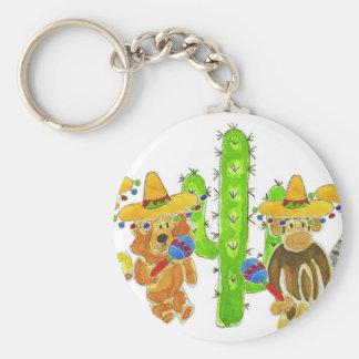 Critters mexicanos de la fiesta llavero redondo tipo pin