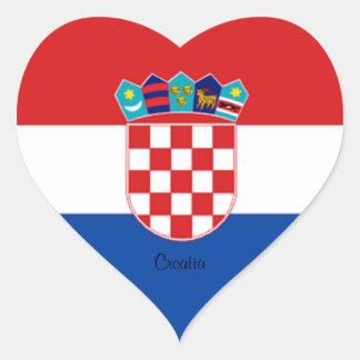 Croacia: Bandera de Croacia Pegatina En Forma De Corazón