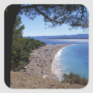 Croacia, isla de Brac, Bol, playa de oro del cabo Calcomanías Cuadradass