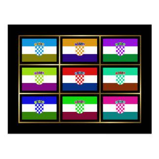 Croacia Multihue señala la postal por medio de una