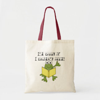 Croar de la rana si no podría leer las camisetas y bolsas de mano
