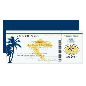 Beach Themed Croatia Boarding Pass Blue and Yellow Wedding Card