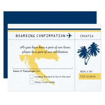 Beach Themed Croatia Boarding Pass RSVP Blue and Yellow Wedding Card