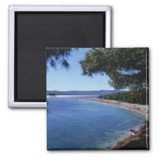 Croatia, Brac Island, Bol, Golden Cape Beach 2 2 Inch Square Magnet