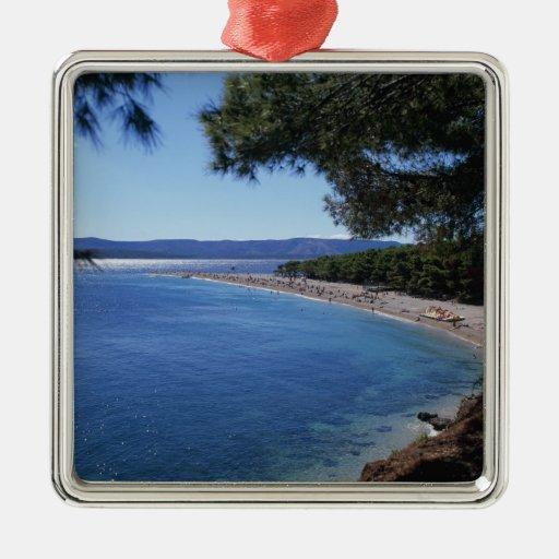 Croatia, Brac Island, Bol, Golden Cape Beach 2 Christmas Tree Ornaments