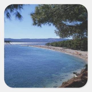 Croatia, Brac Island, Bol, Golden Cape Beach 2 Square Sticker