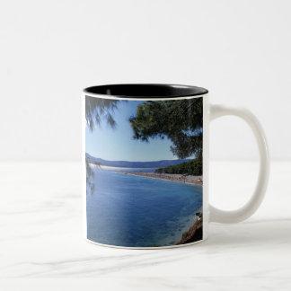 Croatia, Brac Island, Bol, Golden Cape Beach 2 Two-Tone Coffee Mug