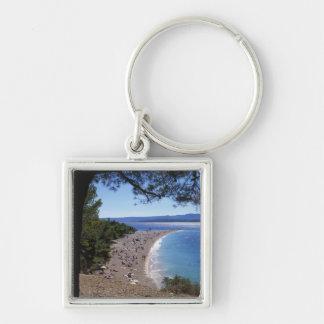 Croatia, Brac Island, Bol, Golden Cape Beach Silver-Colored Square Keychain