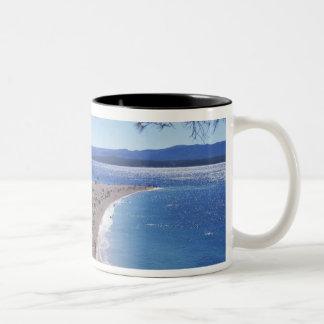 Croatia, Brac Island, Bol, Golden Cape Beach Two-Tone Coffee Mug