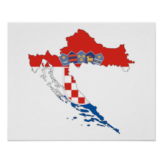 croatia country flag map shape silhouette poster