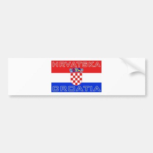 Croatia Croatian Hrvatska Flag Bumper Stickers