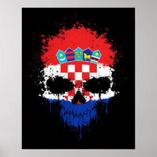 Croatia Dripping Splatter Skull Poster