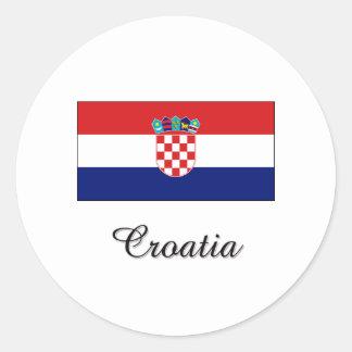 Croatia Flag Design Round Stickers