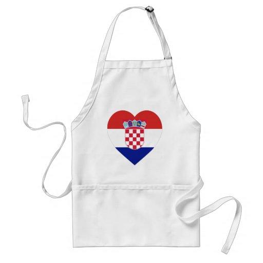 Croatia Flag Heart Adult Apron