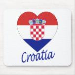 Croatia Flag Heart Mouse Pad