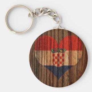 Croatia Flag Heart on Wood theme Keychain